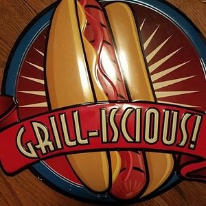Grilliscious hotdog metal tin bbq sign